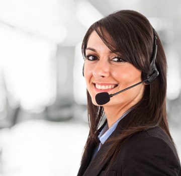 Customer services woman with a headset on